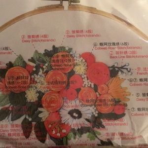 Embroidery craft set, floral with hoop, NWT